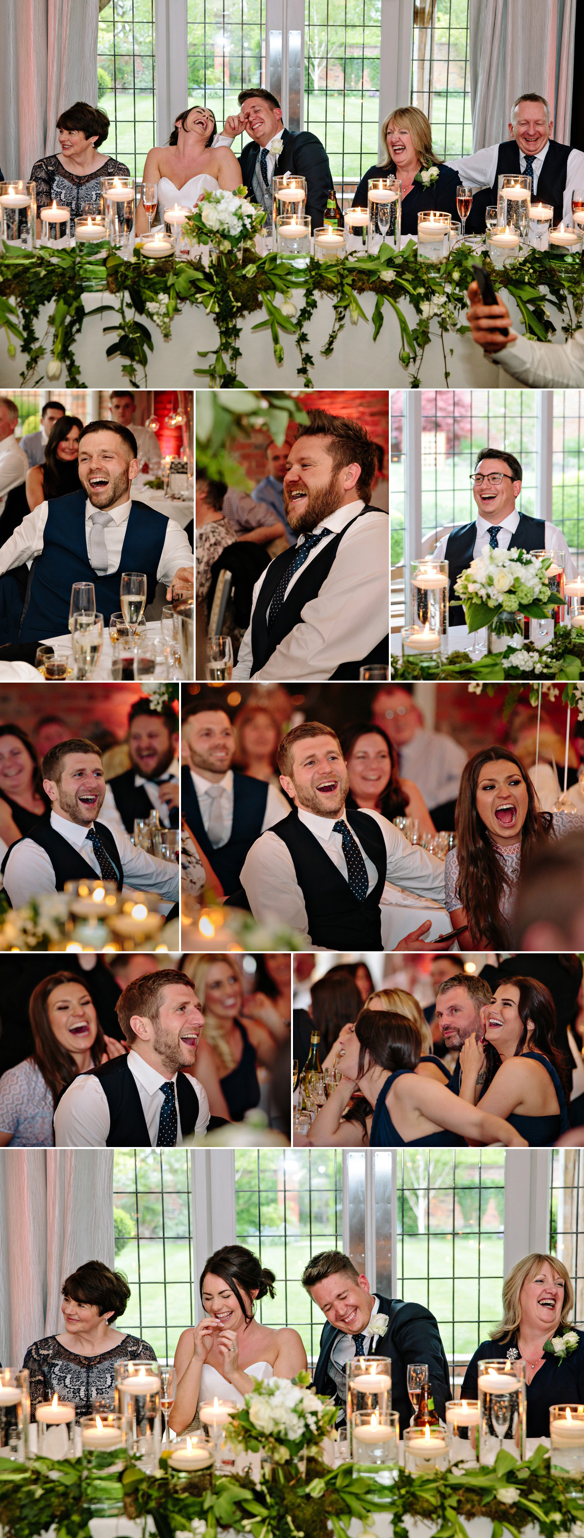 The Best Man's speech has the Bride and Groom and wedding guests laughing loudly