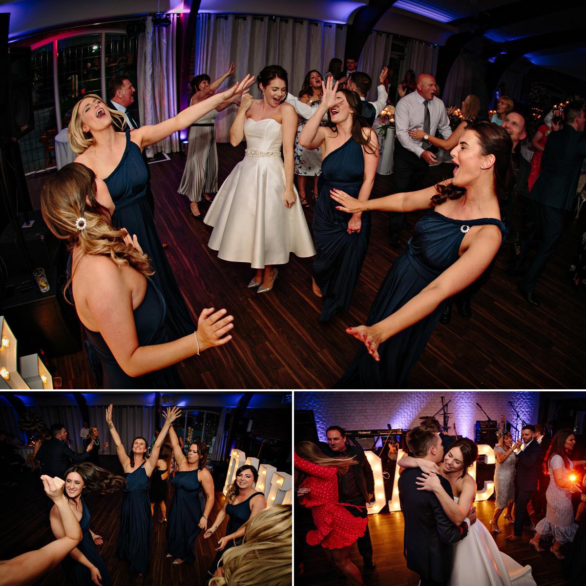 Bride and her Bridesmaids enjoying the evening dancing