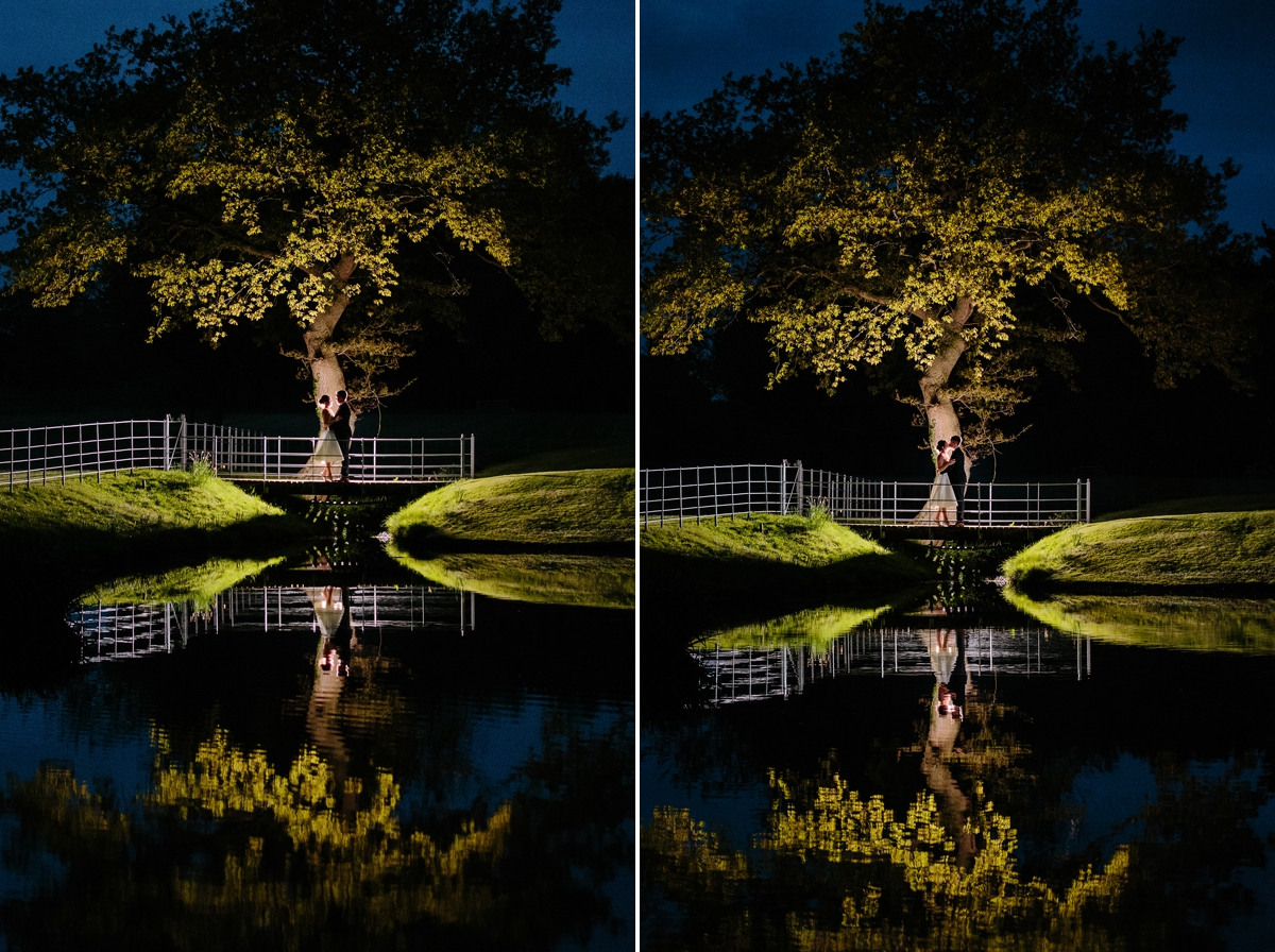 Bride and Grooms reflection in the lake at night - beautiful wedding