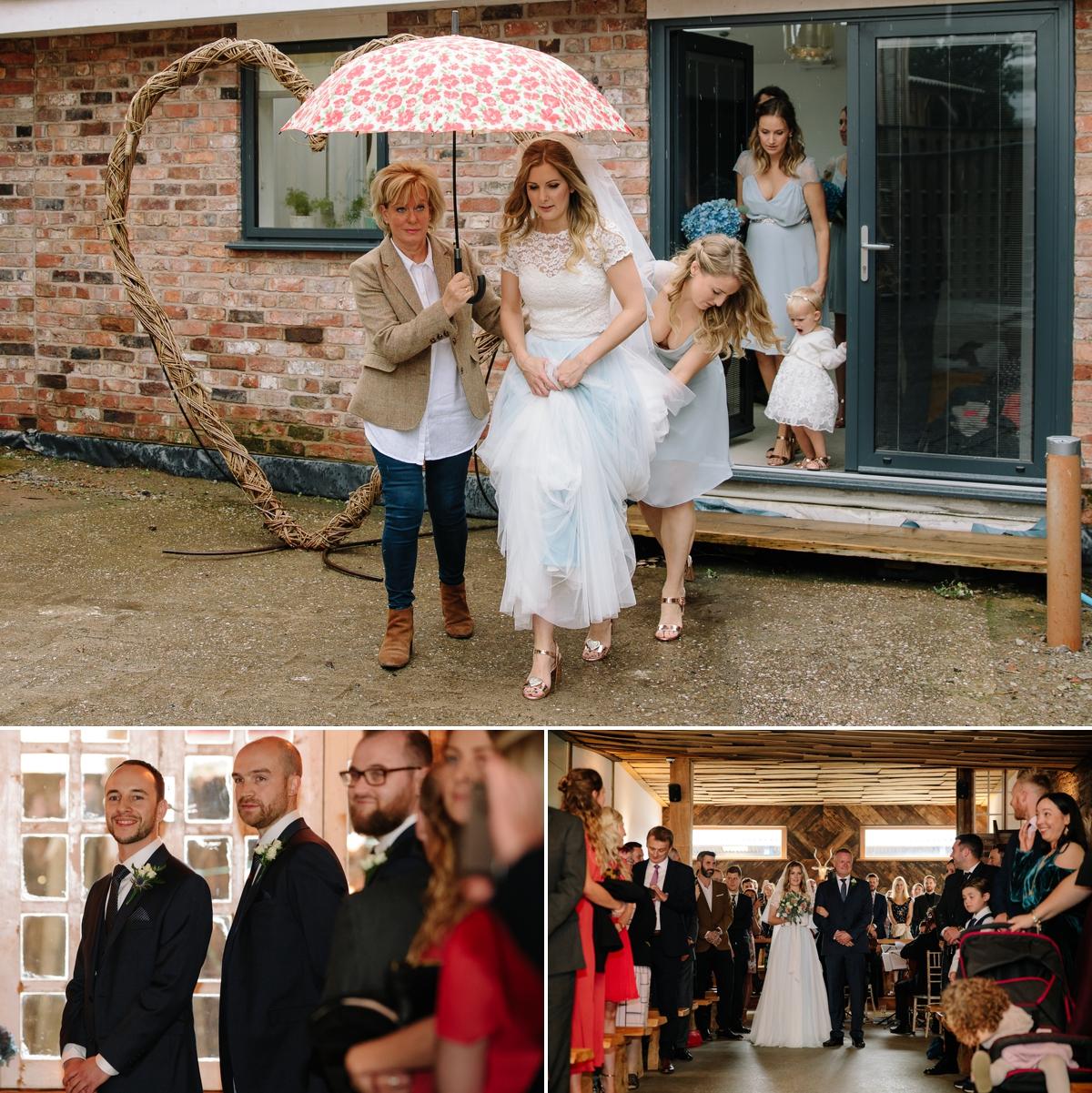 Wet wedding - bride with an umberella