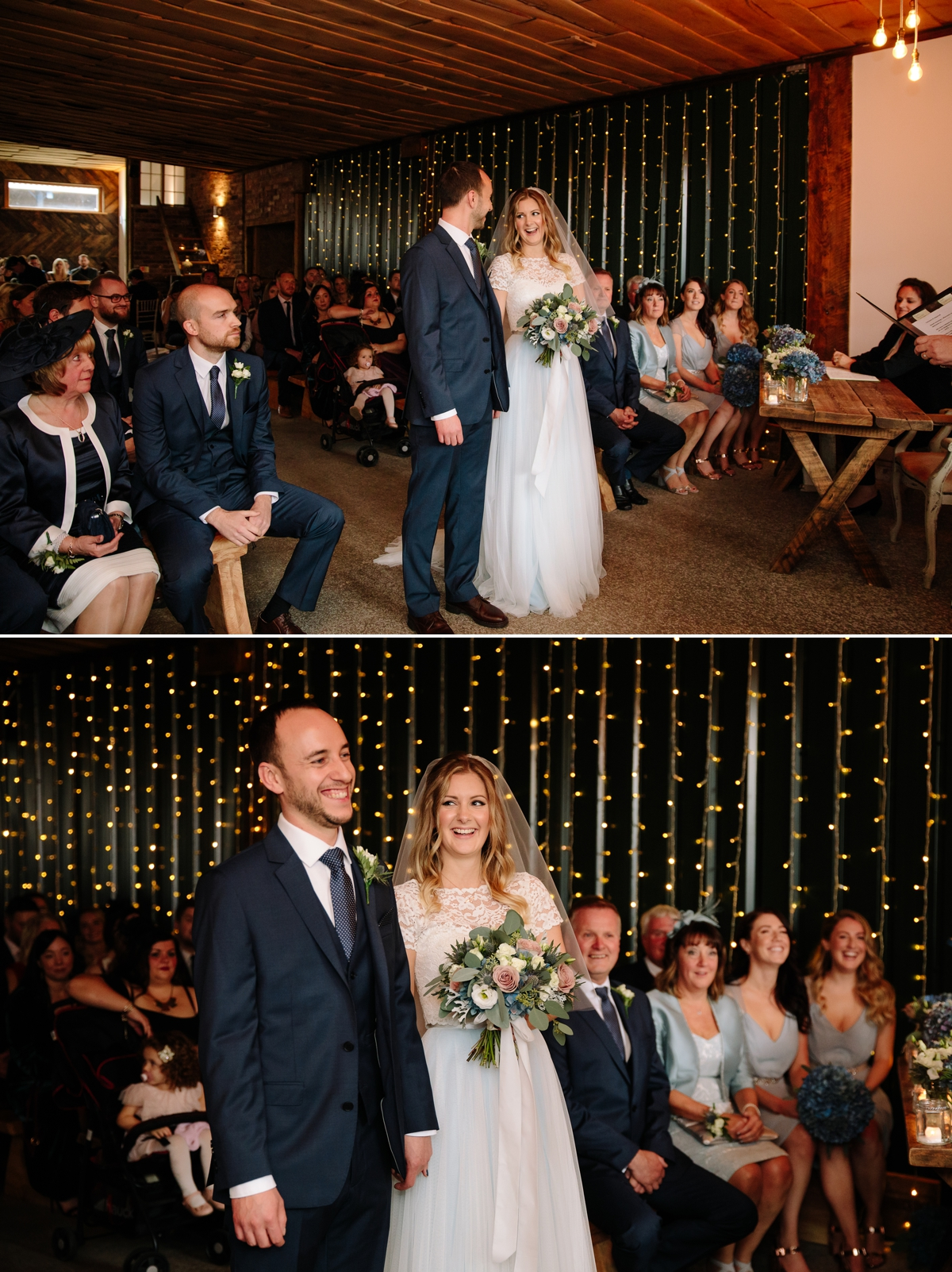 Bride and Groom laughing throughout the ceremony