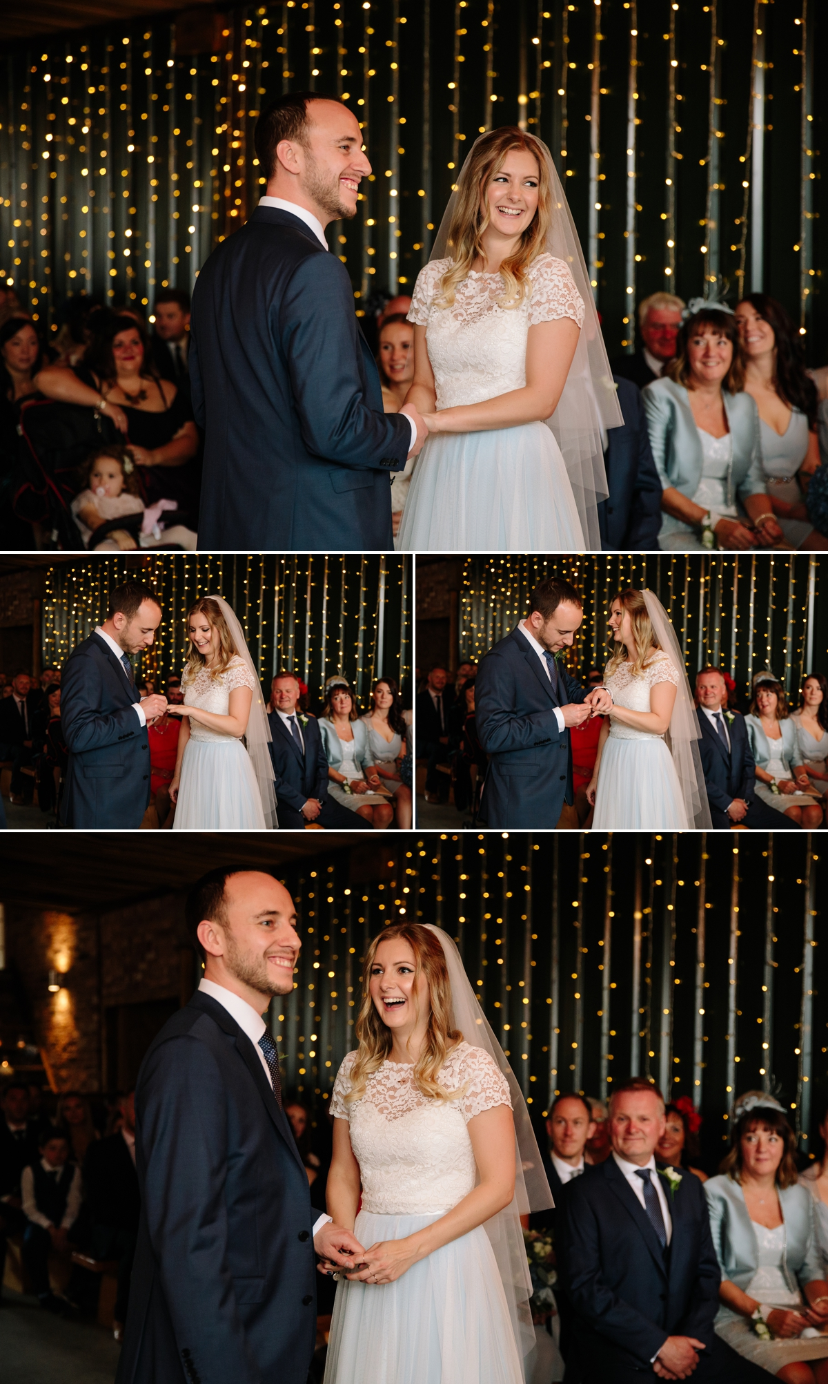 The wedding vows and ring exchange