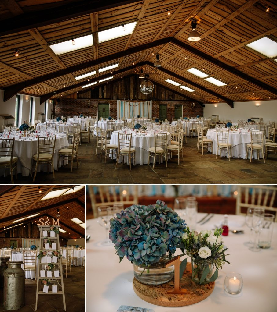 Wedding breakfast room and details