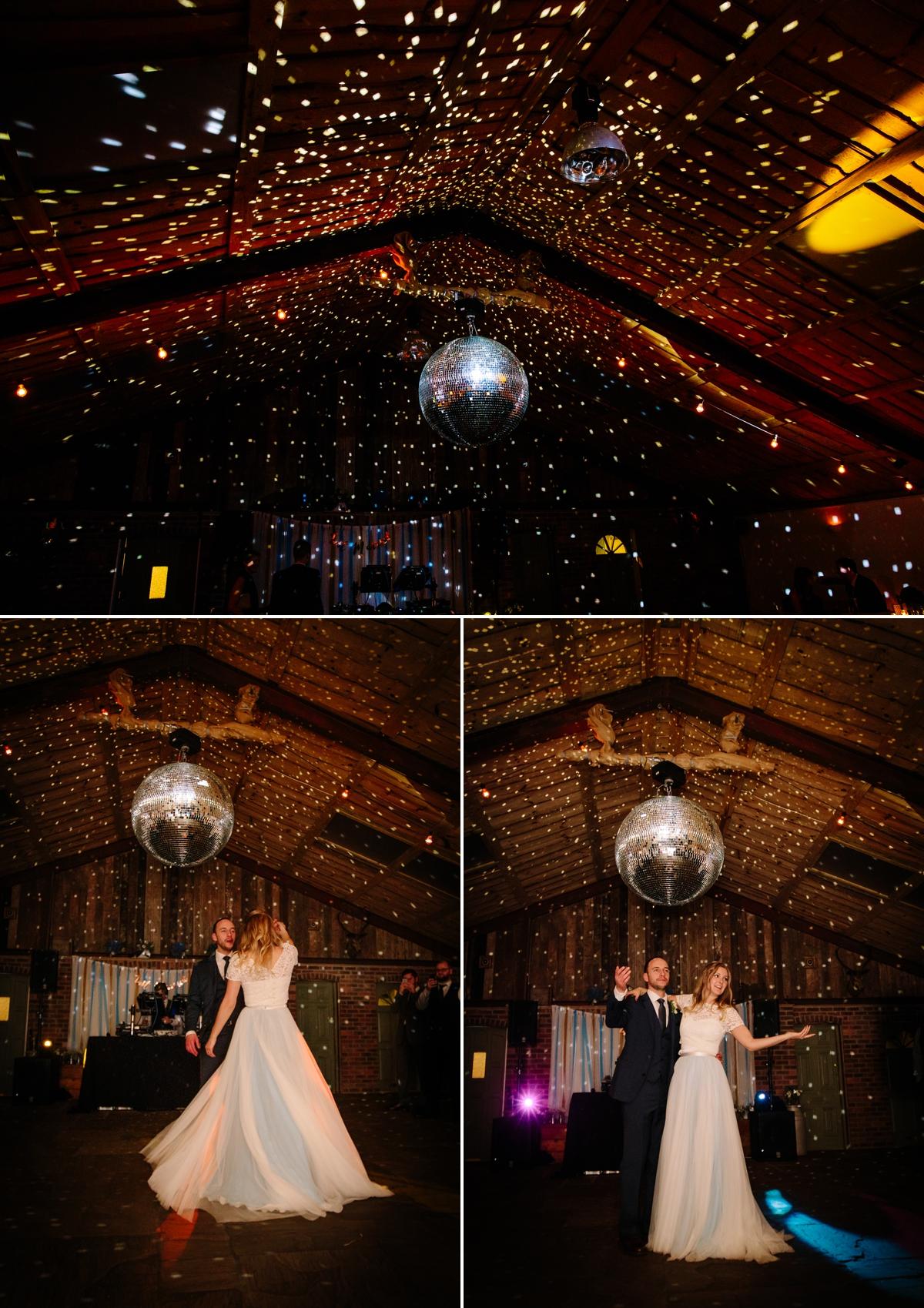 Bride and Groom first dance under a Glitter Ball