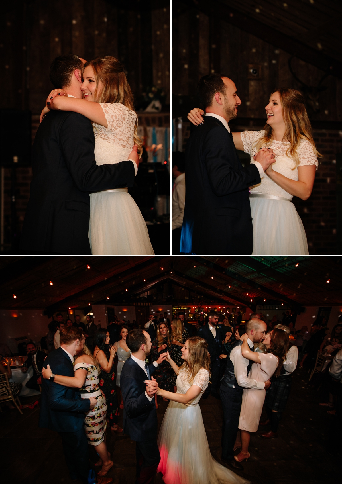Bride and Groom and wedding guests dancing