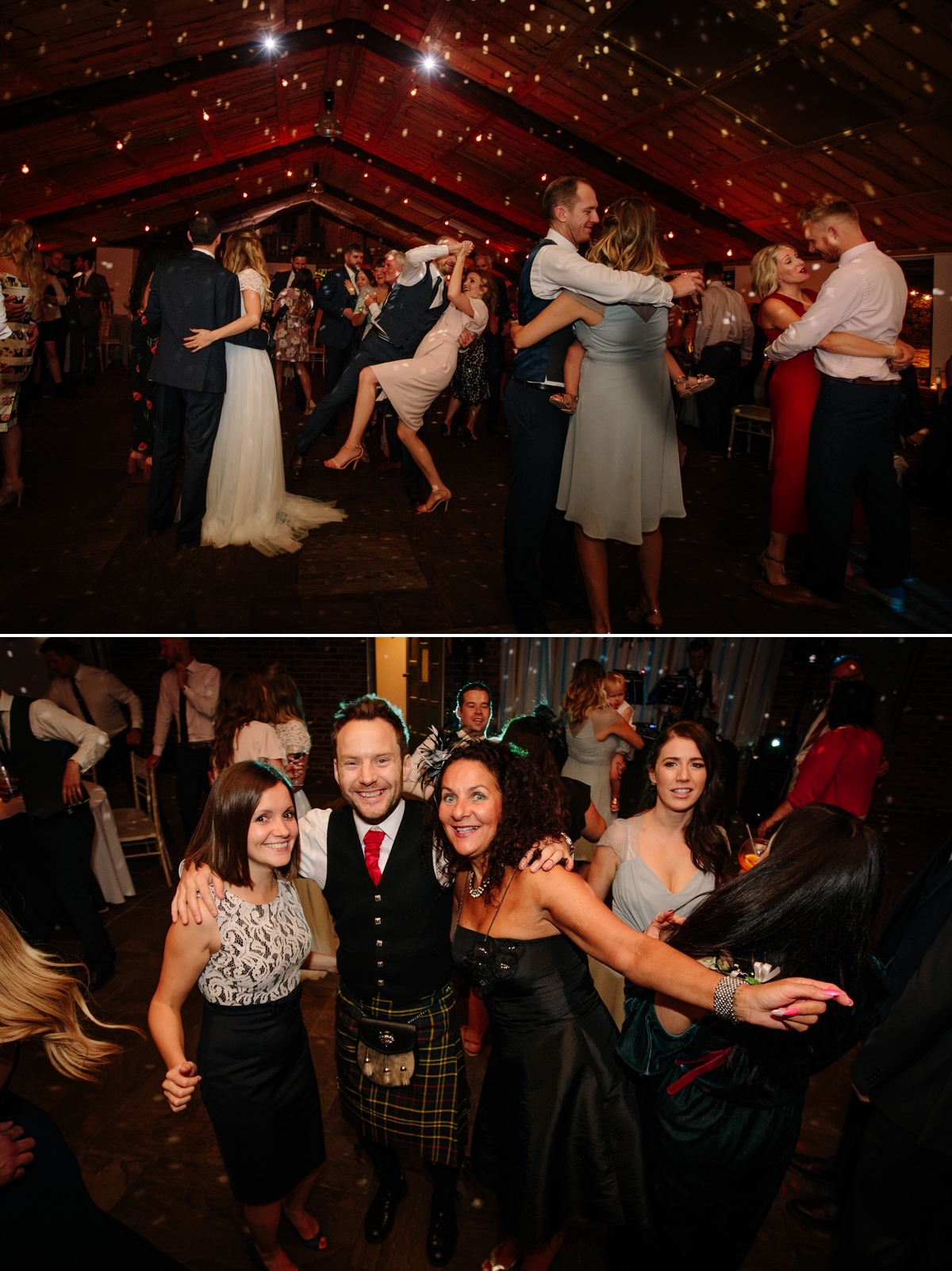 Wedding guests dancing having fun