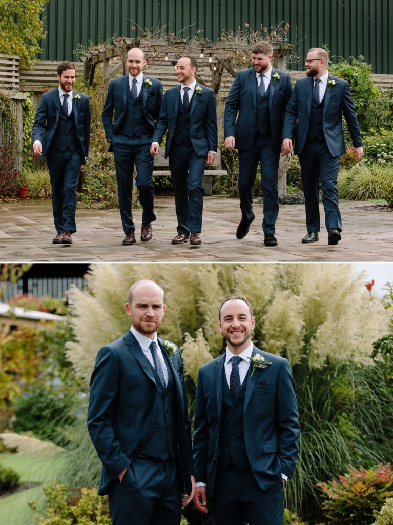 Groom and groomsmen walking to the venue