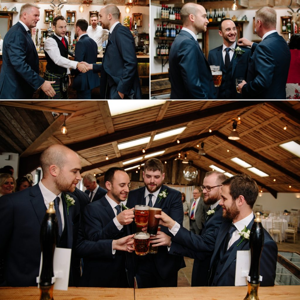 Groom and groomsmen enjoying a pre-ceremony drink