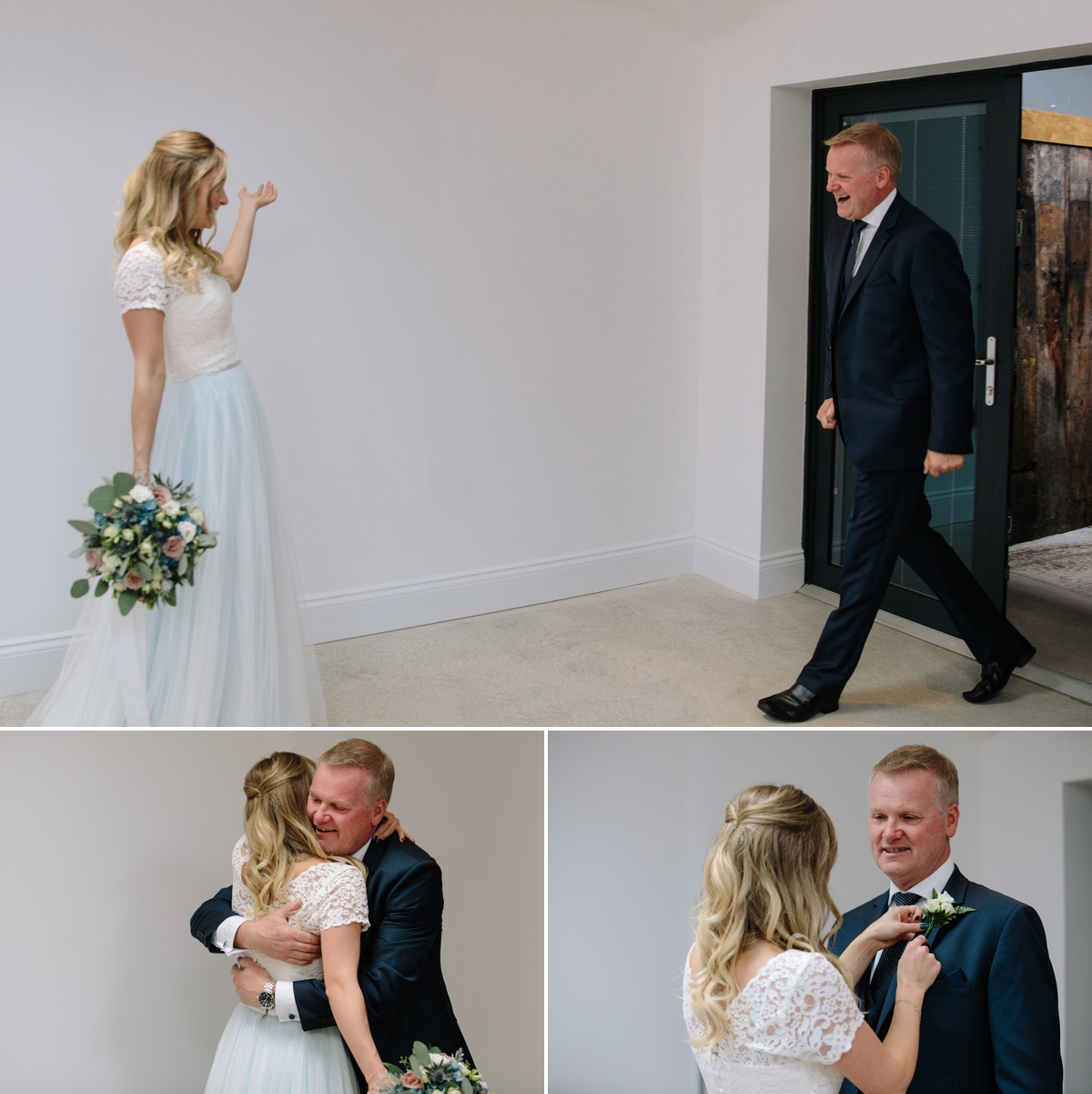 The first look when dad sees his daughter in her wedding dress