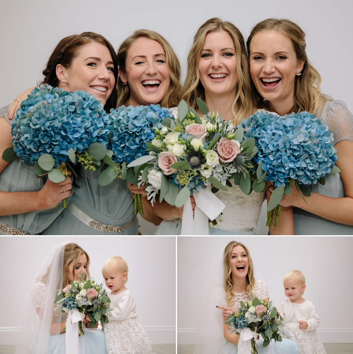 Bride and her bridesmaids in the beauty shed