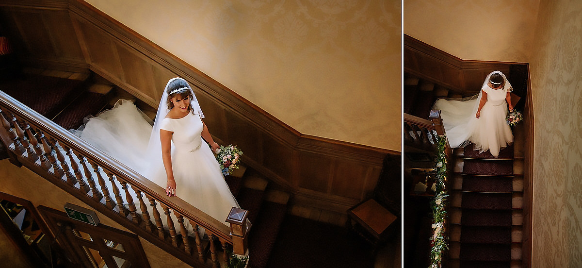 Bride coming down staircase Willington Hall