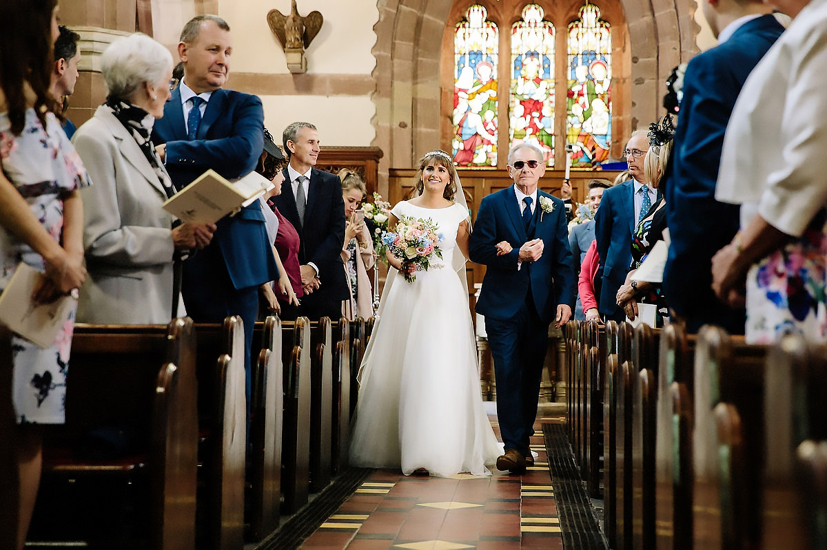 Father and Bride walking down aisle Cheshire