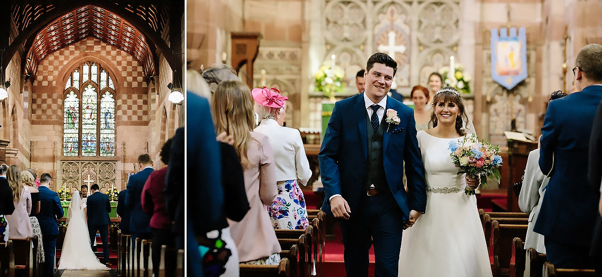 Bride and Groom walking down aisle Cheshire