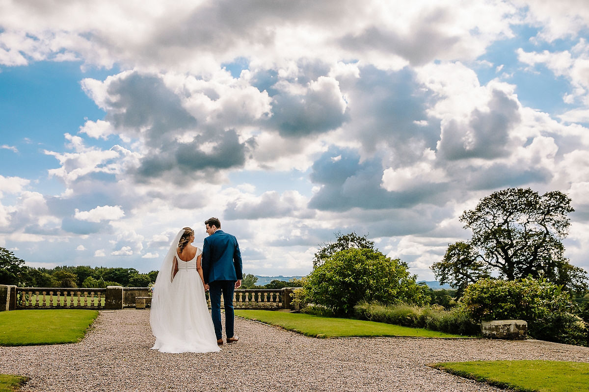 Bride and Groom walking Cheshire