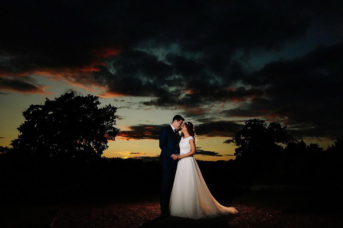Bride and Groom sunset Willington Hall