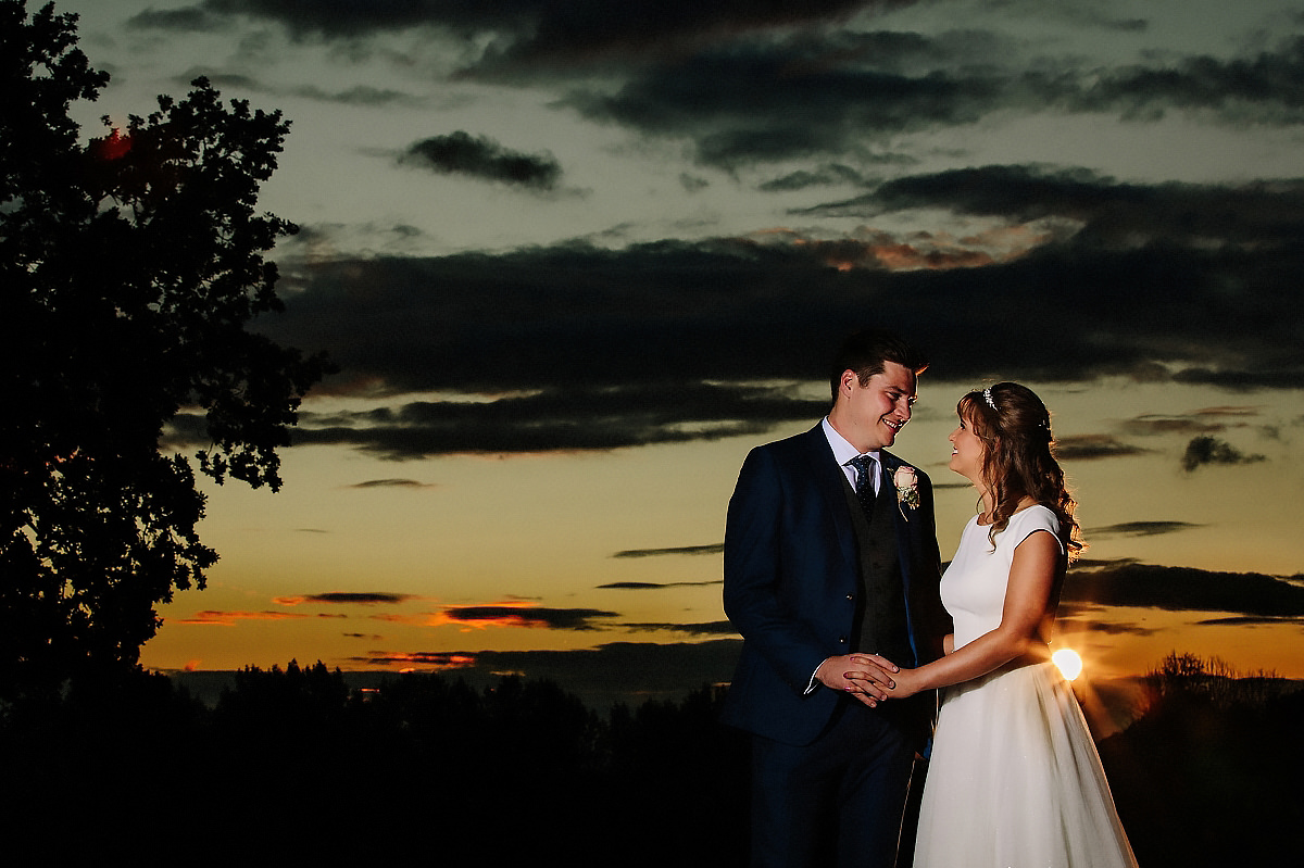 Bride and Groom sunset Cheshire