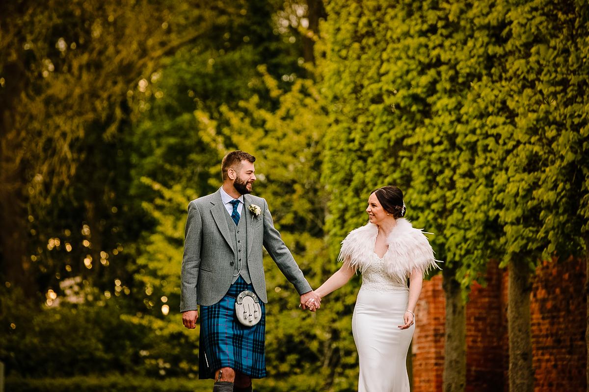 Arley Hall wedding photographs with Bride and Groom