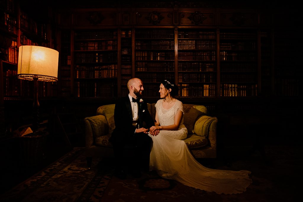Inside the Library at Arley Hall with the Bride and Groom at their wedding