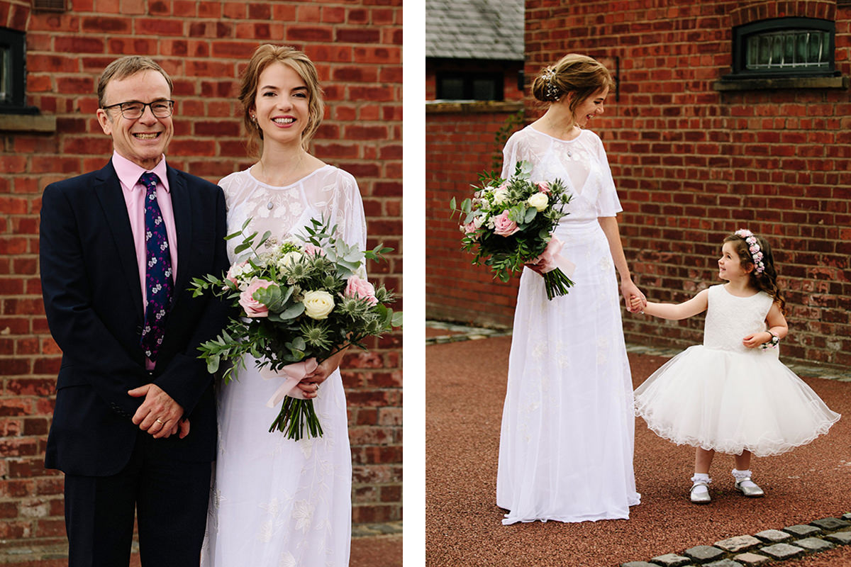 Bride with her dad and flower girl before getting married