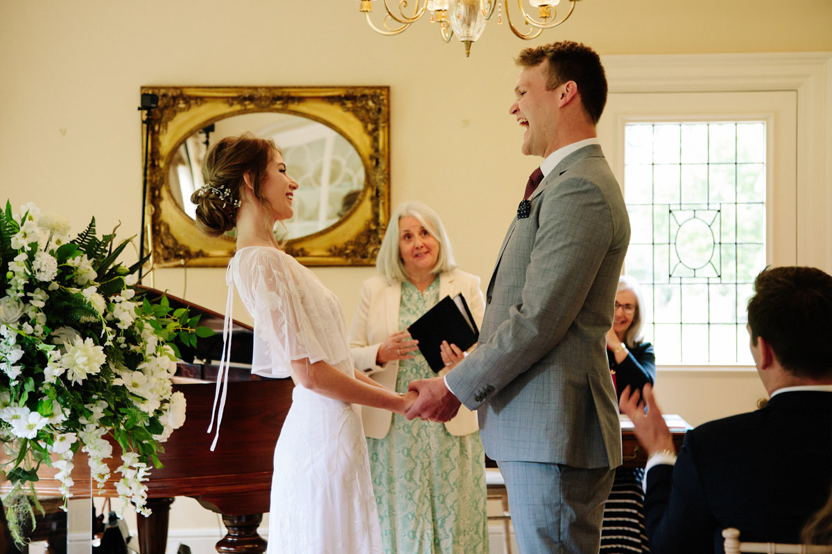 Bride and groom happily married at Colshaw Hall