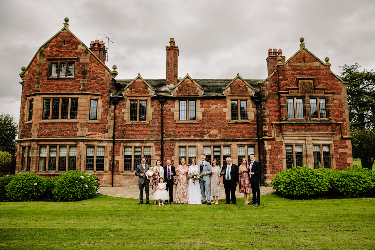 Family group photograph in front of Colshaw Hall
