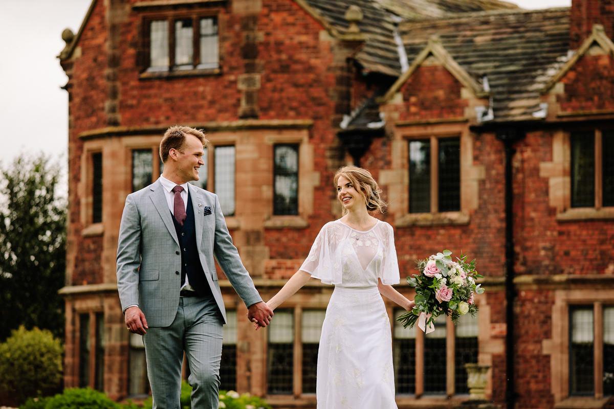Colshaw Hall wedding photographer with the bride and groom