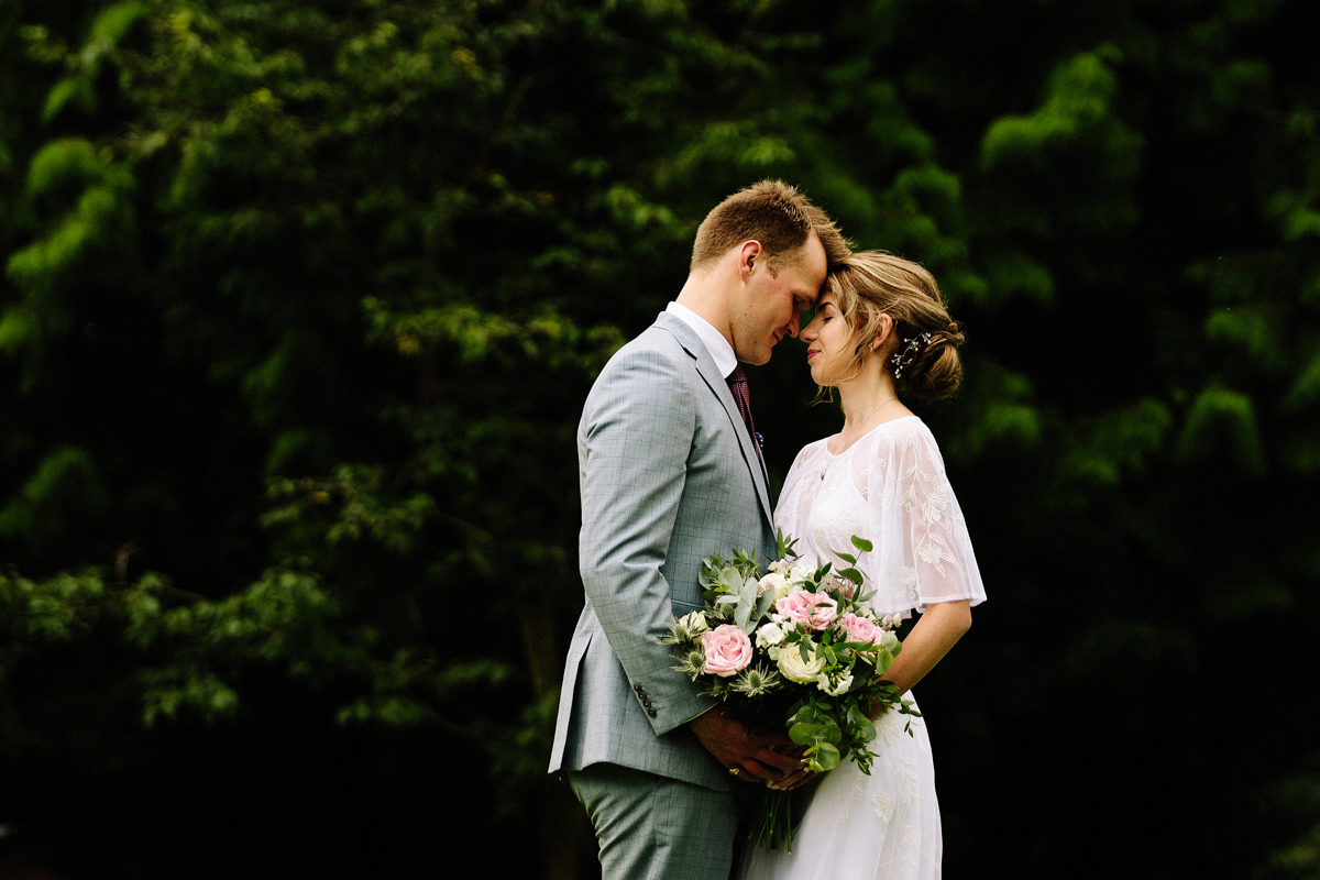 Intimate moment between the bride and groom at Colshaw Hall wedding