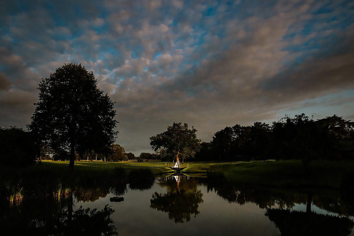 Twilight over the lake at Colshaw Hall wedding photography