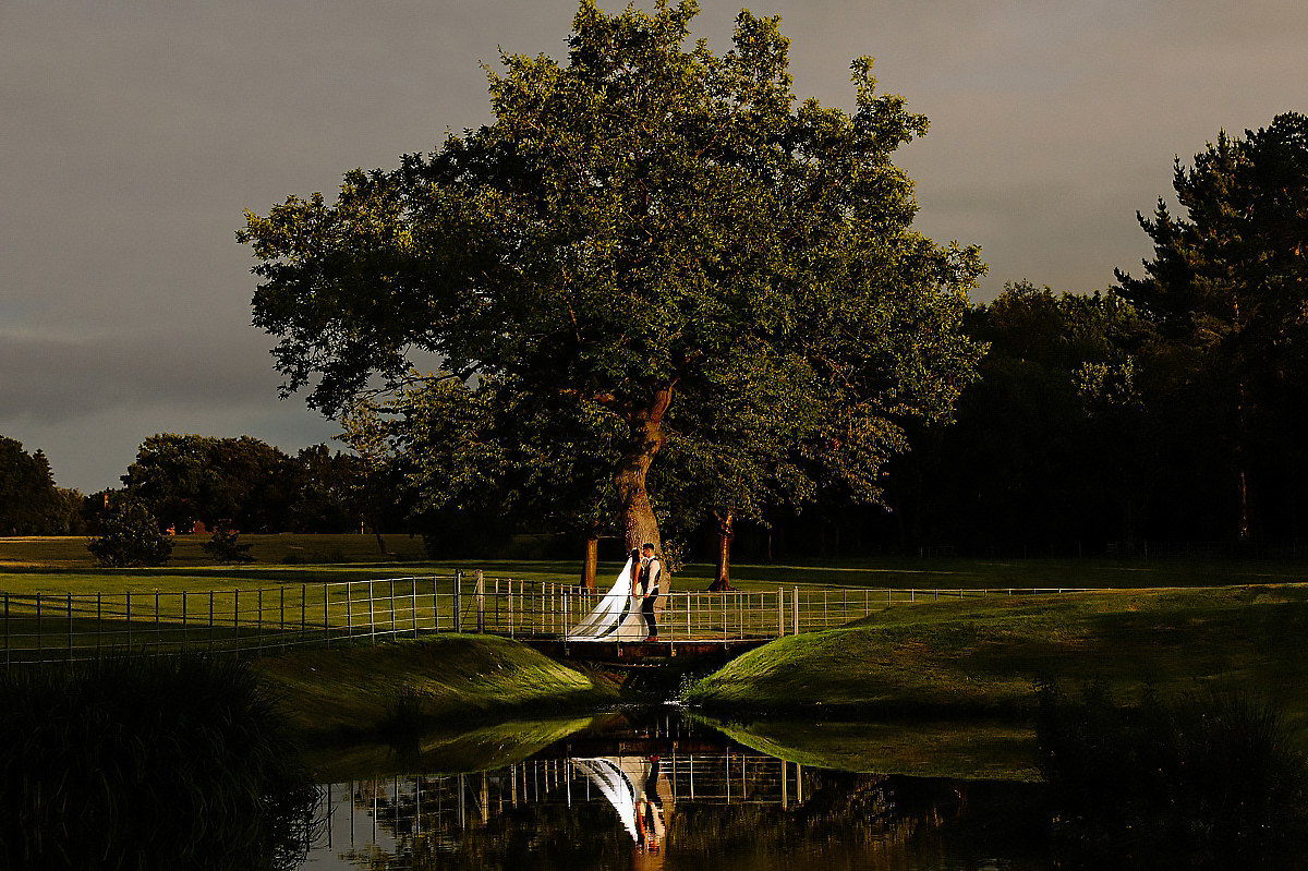 Evening photograph overlooking the lake at Colshaw Hall