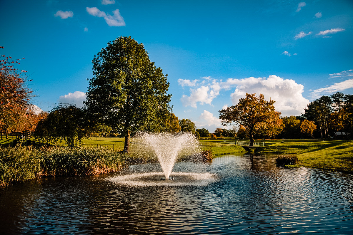 Photo of the lake and fountain at Colshaw Hall