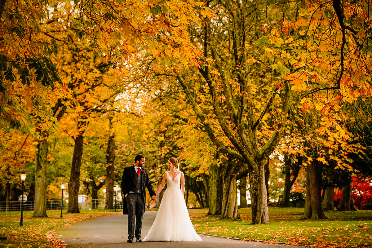 The driveway into Colshaw Hall with the Bride and Groom
