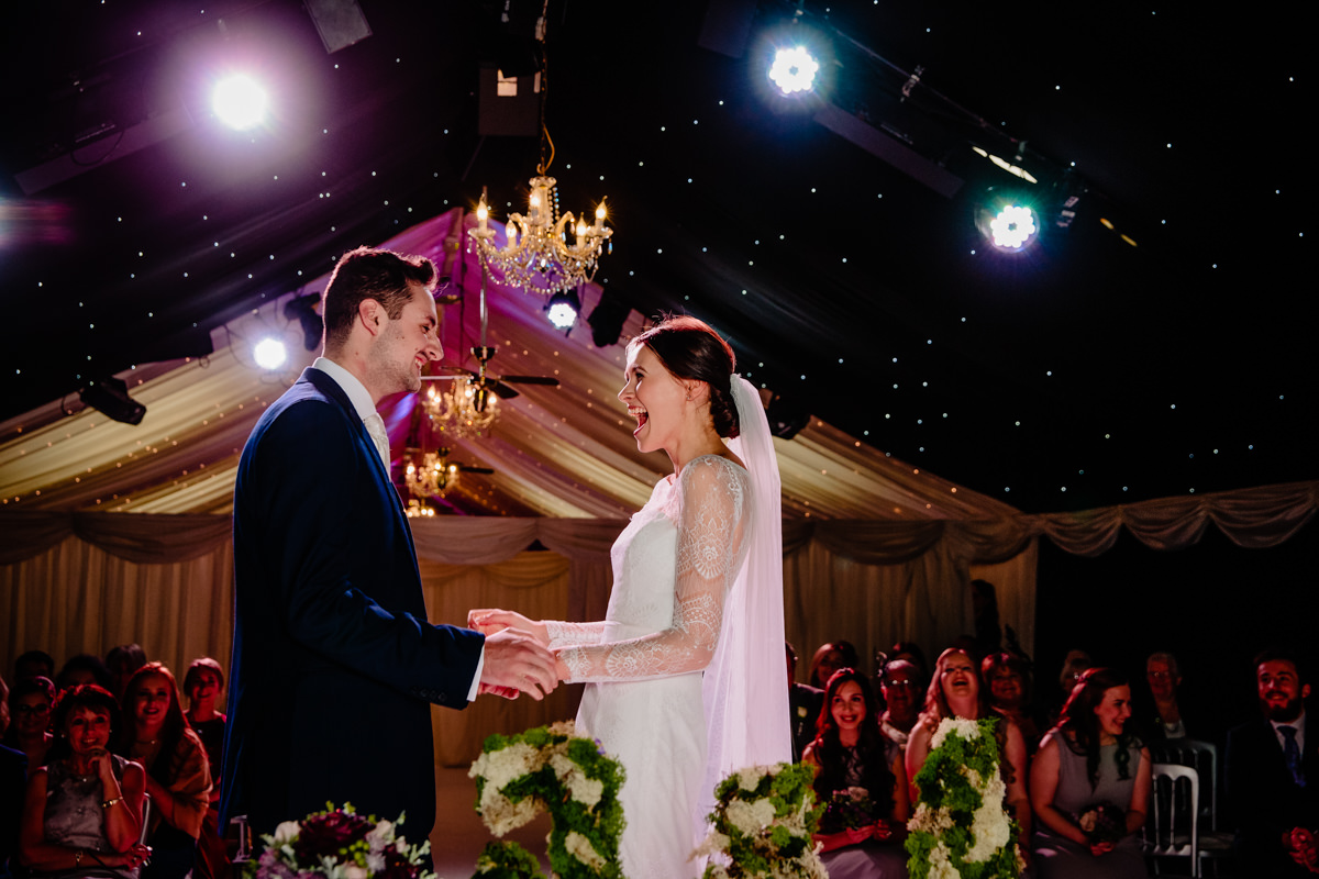 Bride and Groom getting married under the stars at Heaton House Farm
