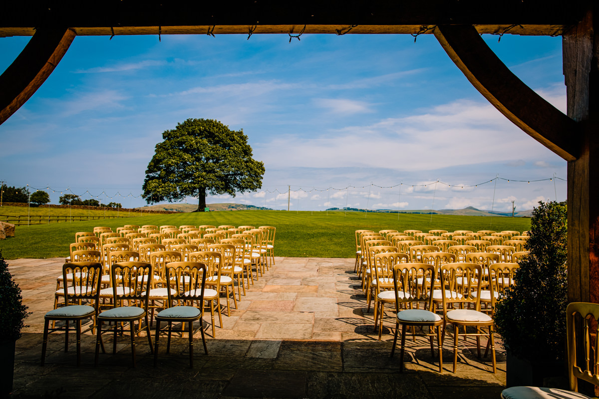 The view as you are getting married outside at Heaton House Farm