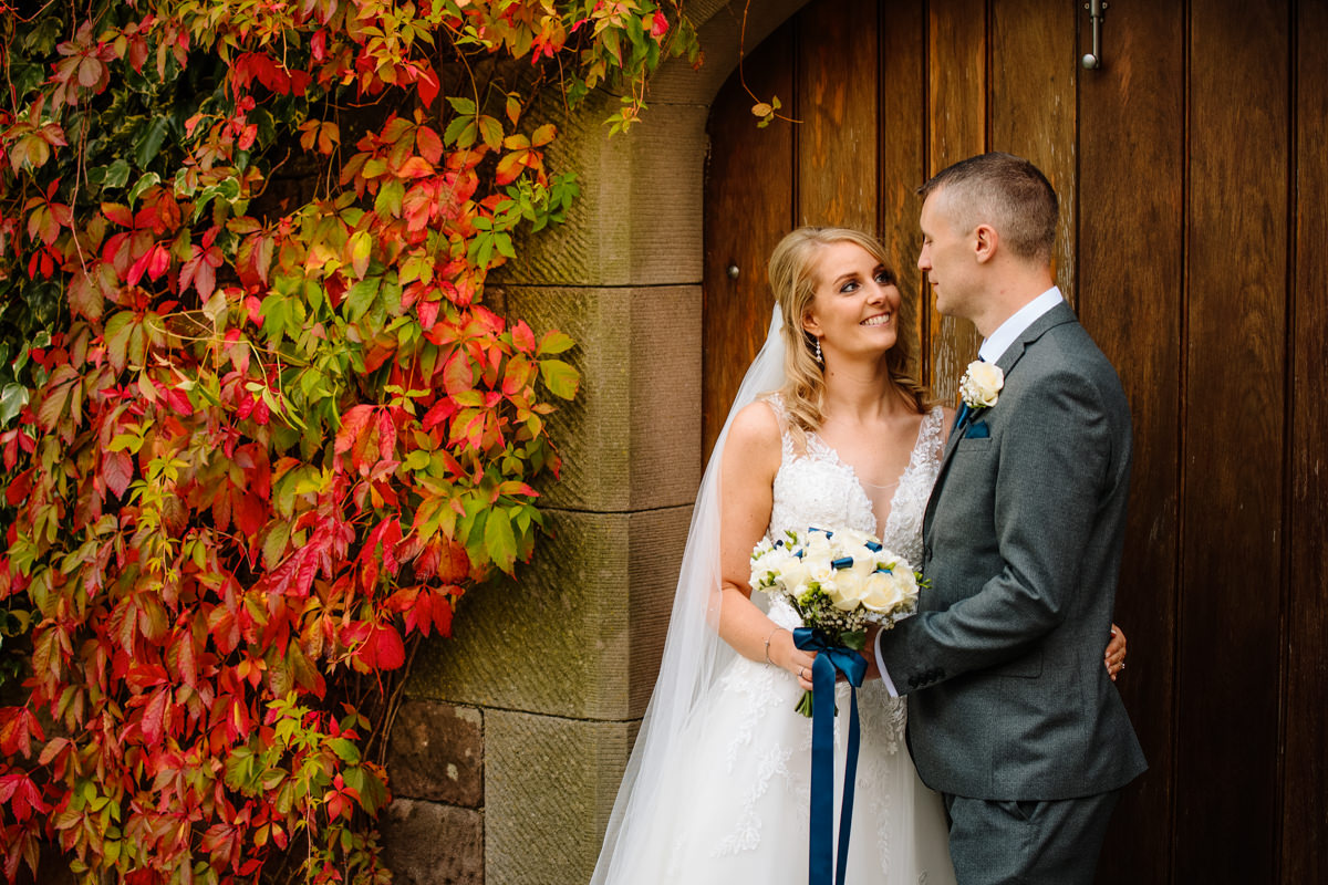 Autumn colours at Heaton House Farm with the Bride and Groom