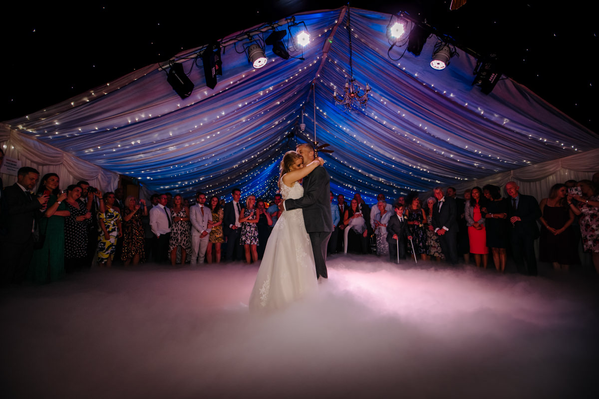 First Dance in the wedding Barn at Heaton House Farm