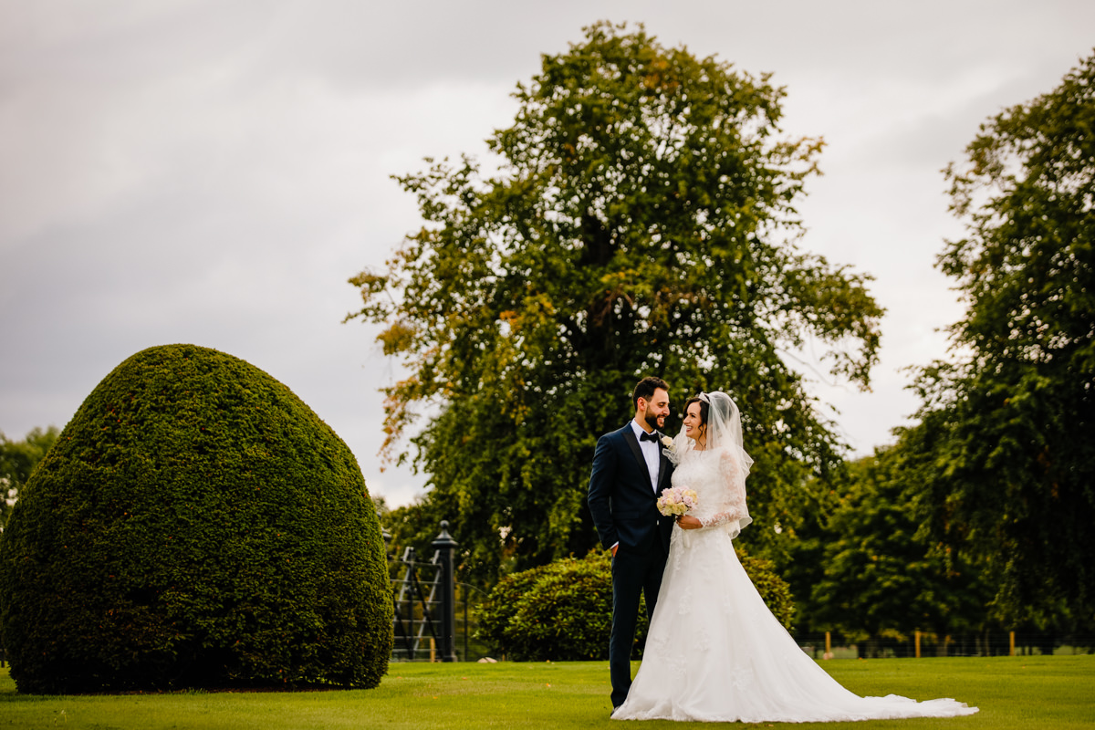 Bride and Groom in the gardens at Merrydale Manor
