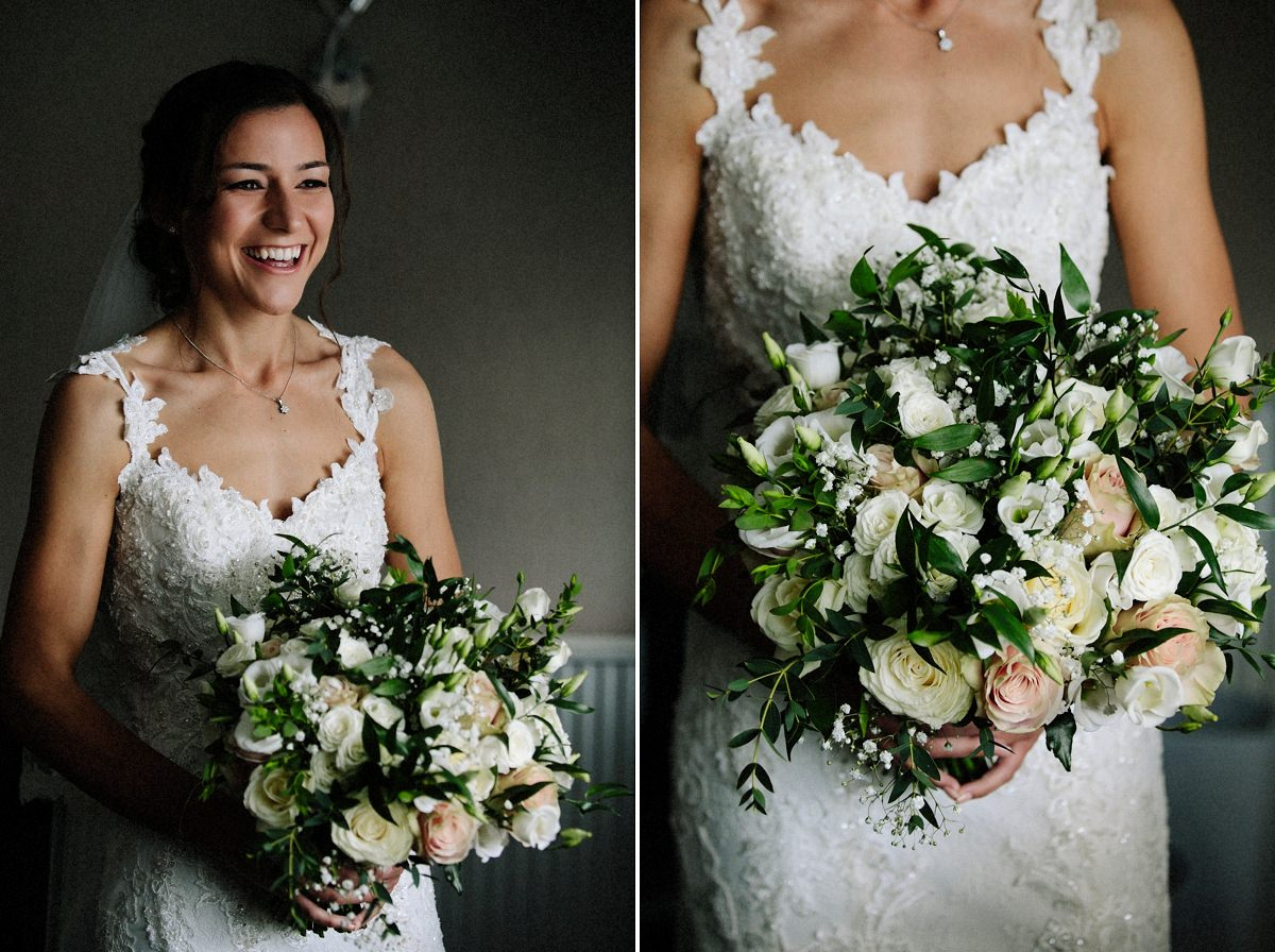 Bridal bouquet with bride