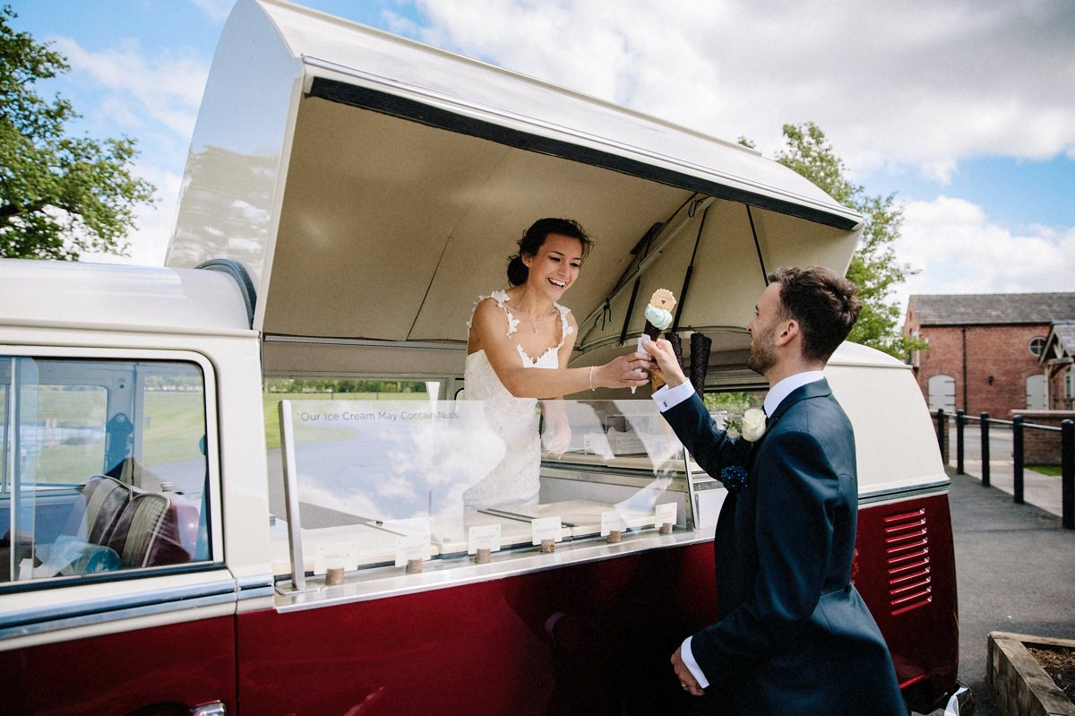 Bride serving ice cream to the groom at Merrydale Manor