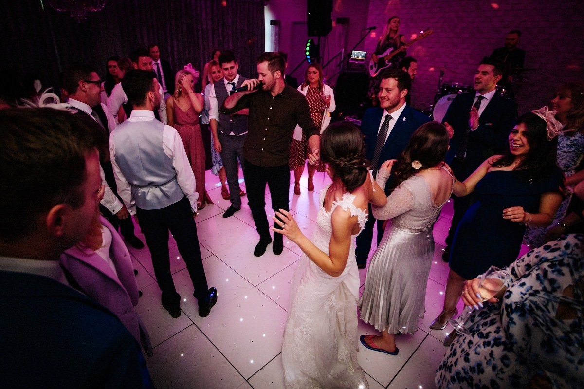 Wedding singer on the dance floor