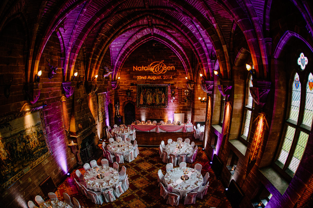 The Great Hall at Peckforton Castle dressed for a lavish wedding breakfast