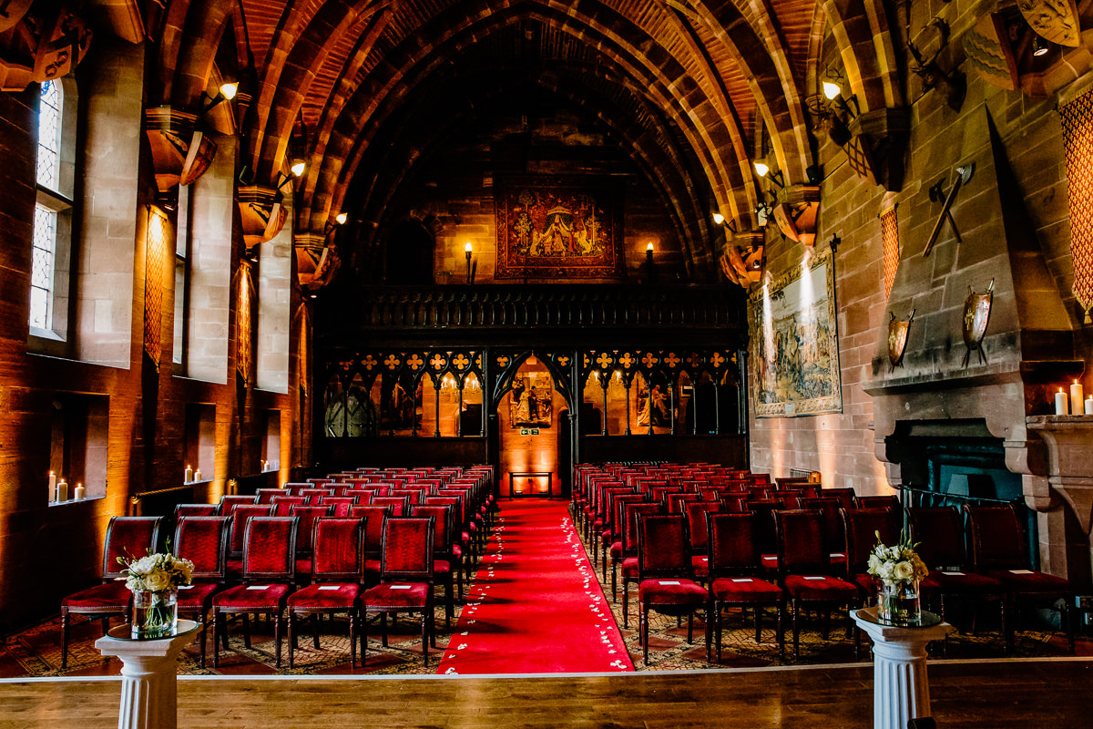 The Great Hall at Peckforton Castle looking back towards the balcony