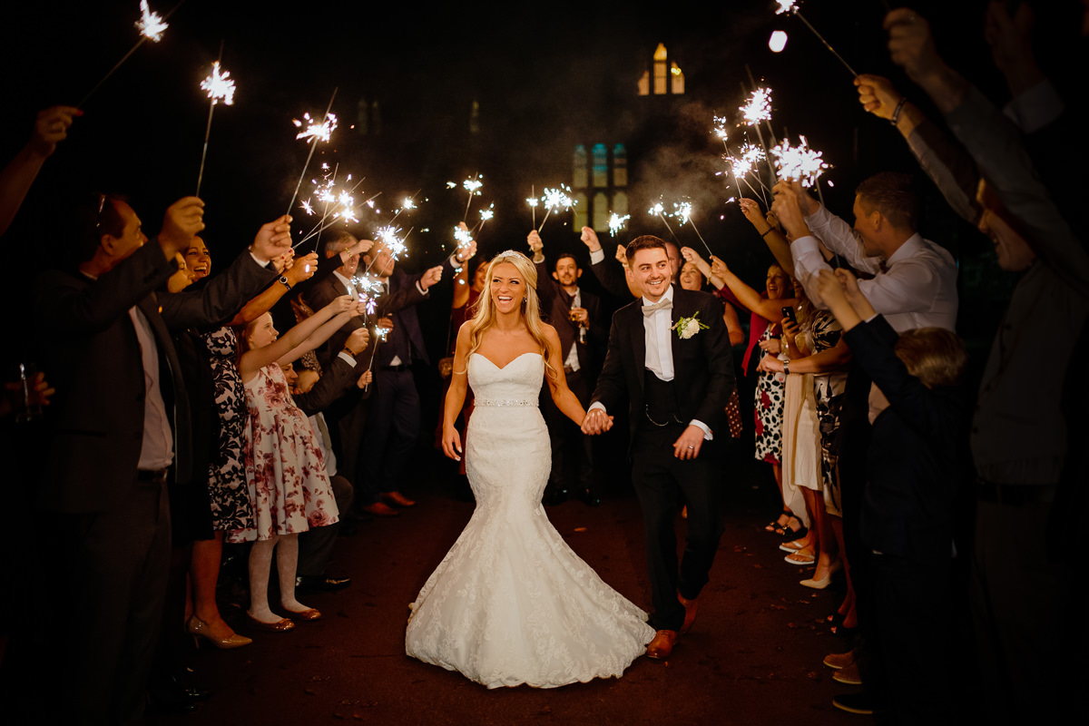 Sparkler exit with the bride and groom at Peckforton Castle