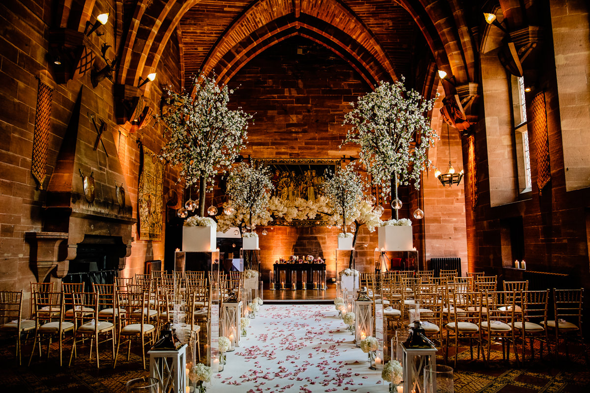 The Great Hall at Peckforton Castle looking towards the stage and windows