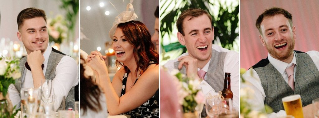 Wedding guest reactions during the speeches