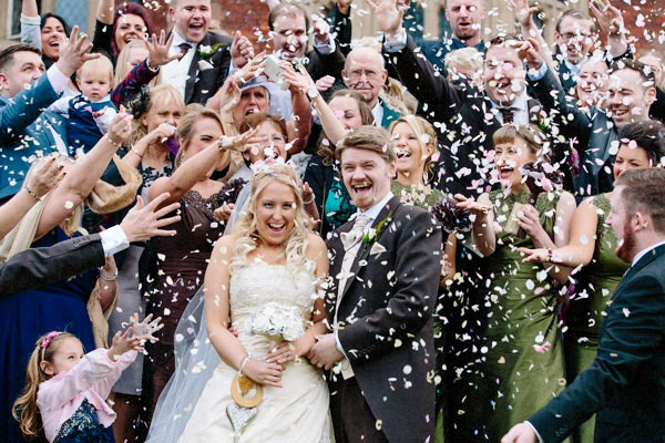 Confetti at Crewe Hall with the Bride and Groom