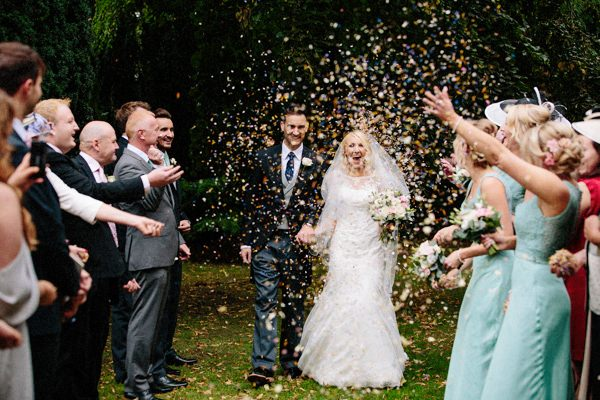 Confetti with the bride and groom