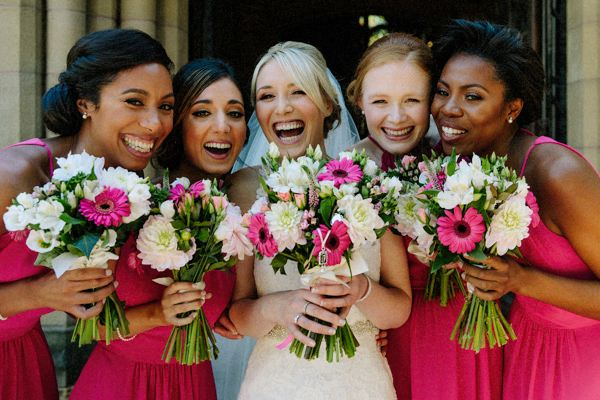 Bridesmaids having fun at Cheshire wedding