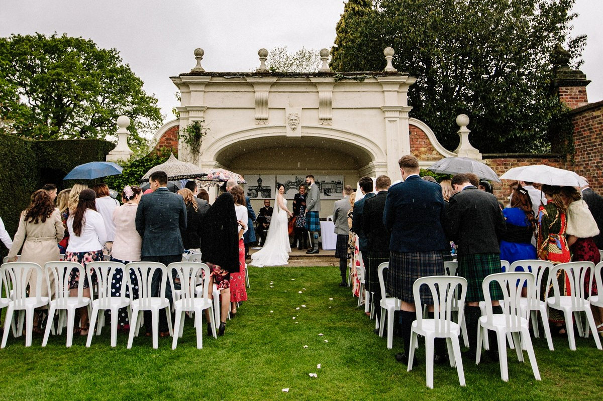The alcove for the outdoor wedding ceremony at Arley Hall