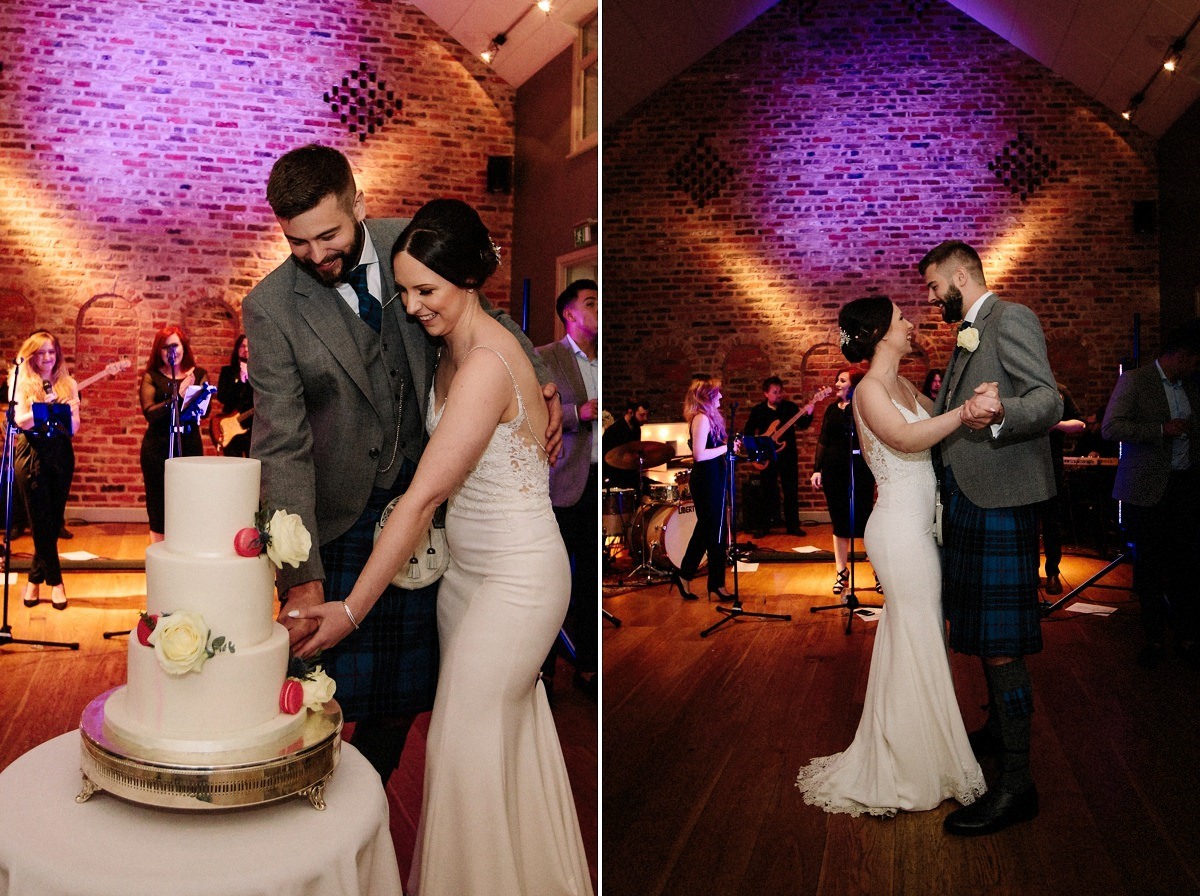 Bride and groom cutting the cake and starting their first dance