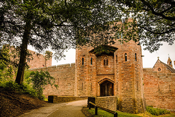 Peckforton Castel drawbridge entrance to the castle